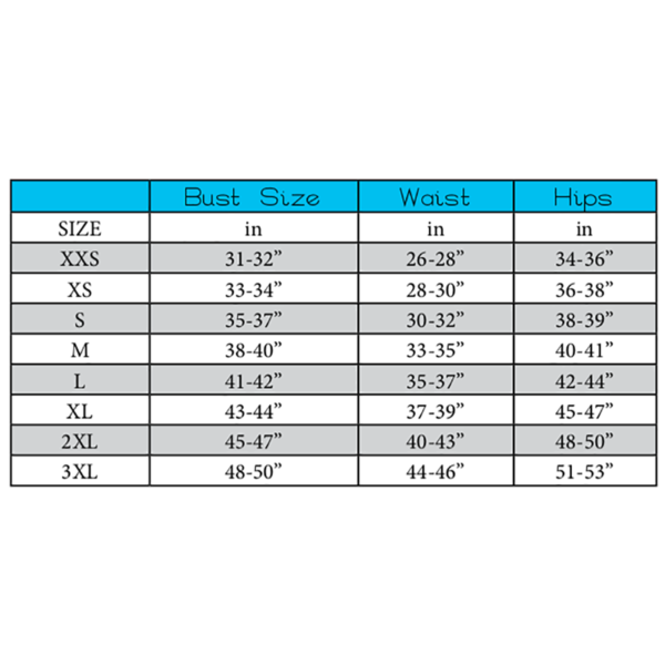 5oo4 patterns size chart