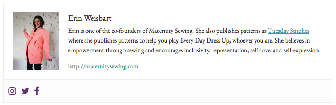 example of an author box on Maternity Sewing