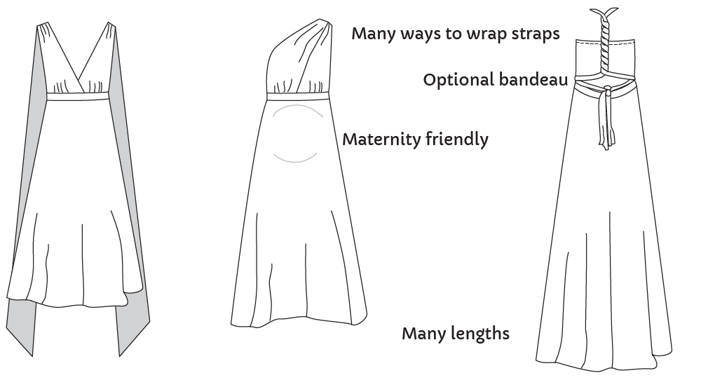 Maternity Sewing Knit Infinity Dress technical drawing
