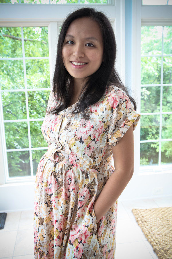 Chloe of No Idle Hands in her maternity Fringe dress